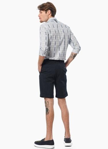 Que Slim Fit Desenli Uzun Kollu Gömlek Mavi